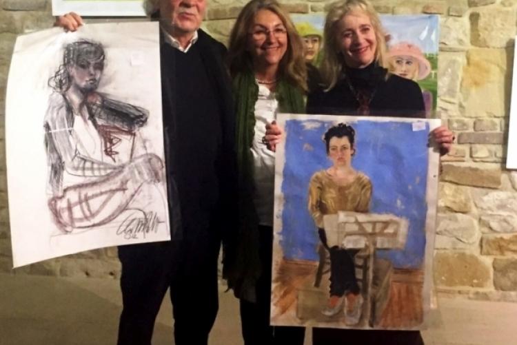 Die Gastgeber, Frau und Dr. Hormes, mit Christiane Drewes-Wright